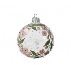 Kerstbal glas met kerstkrans