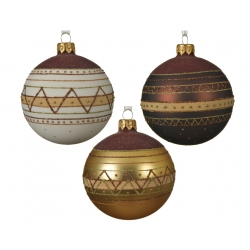 3 kerstballen glas en glanzend