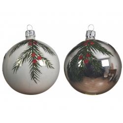 2 kerstballen glas met boomtak