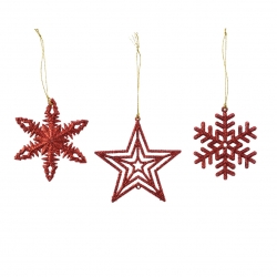 Set of 3 red snowflakes and...