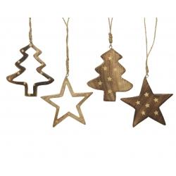 4 kersthangers ster en boom