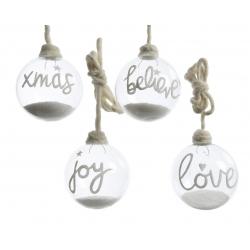 Glazen kerstballen met glitter