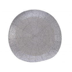 Set of round silver placemats
