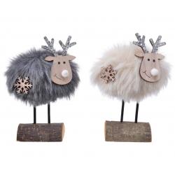 2 Christmas reindeers on a...