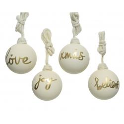 3 glazen ballen creme met goud