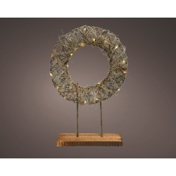 Wooden wreath with leds