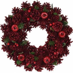 Red wooden wreath 34cm
