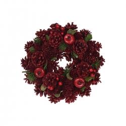 Houten kerstkrans rood