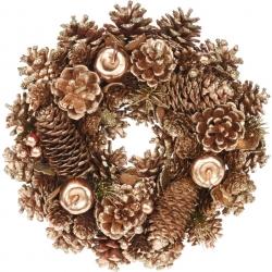 Gold wooden wreath 34cm