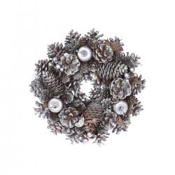 Houten kerstkrans zilver