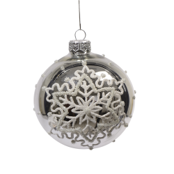 Set of 6 silver Christmas baubles silver