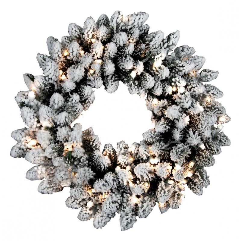 Flocked artificial wreath & lights