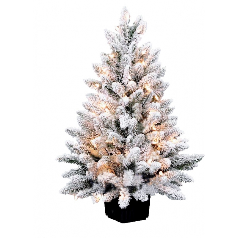 Potted flocked artificial tree