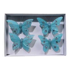 Set of 4 turquoise butterflies