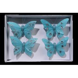Set van 4 vlinders turquoise